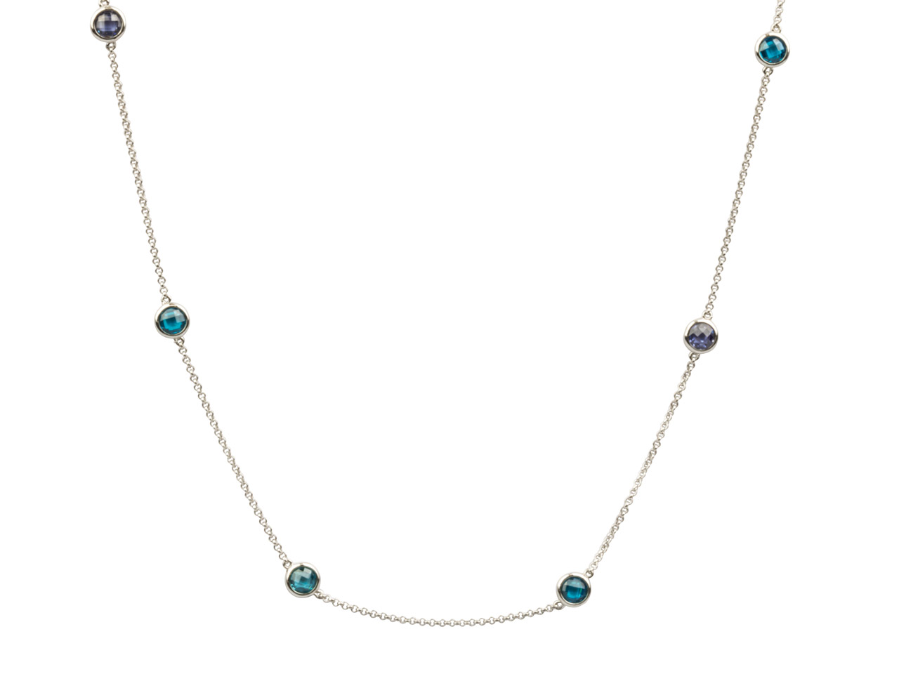 Sterling Silver Station Necklet    With 13 Blue Coloured Cubic        Zirconia, 32
