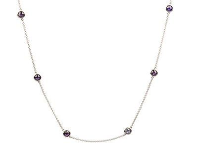Sterling Silver Station Necklet    With 13 Purple Coloured Cubic      Zirconia, 3280cm