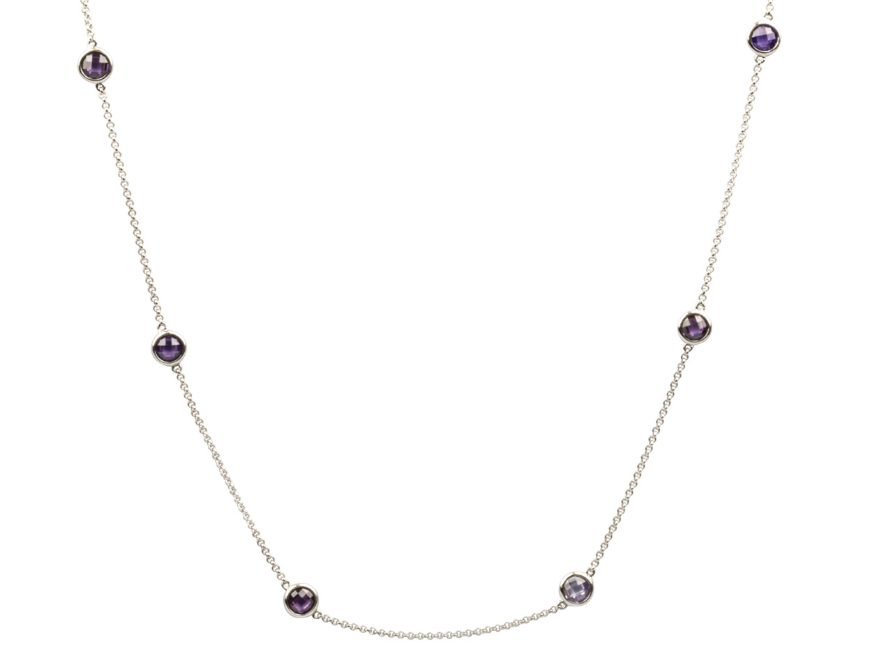 Sterling Silver Station Necklet    With 13 Purple Coloured Cubic      Zirconia, 32