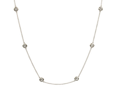 Sterling Silver Station Necklet    With 13 Colourless Cubic Zirconia, 3280cm