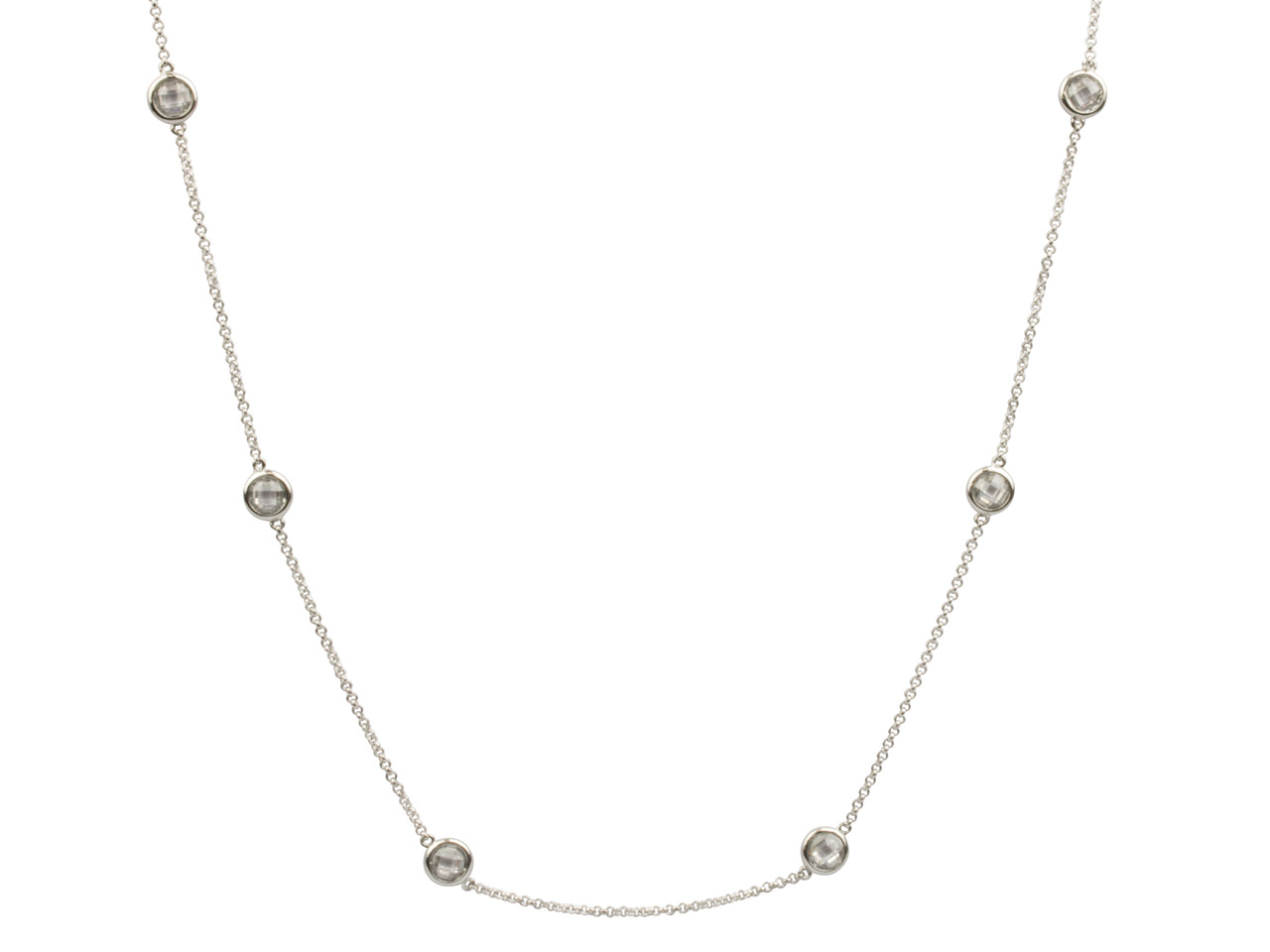 Sterling Silver Station Necklet    With 13 Colourless Cubic Zirconia, 32