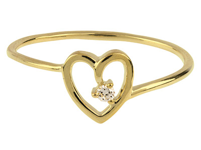 9ct-Yellow-Heart-Ring-With-1-------Di...