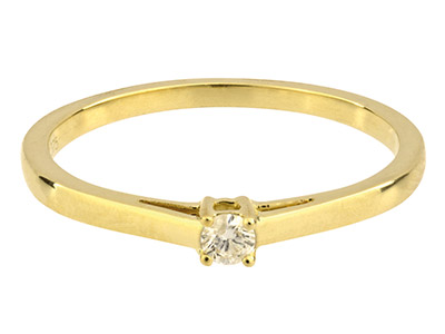 9ct Yellow Solitaire Diamond Ring, Hallmarked 0.07cts, Claw Set,      Finger Size P