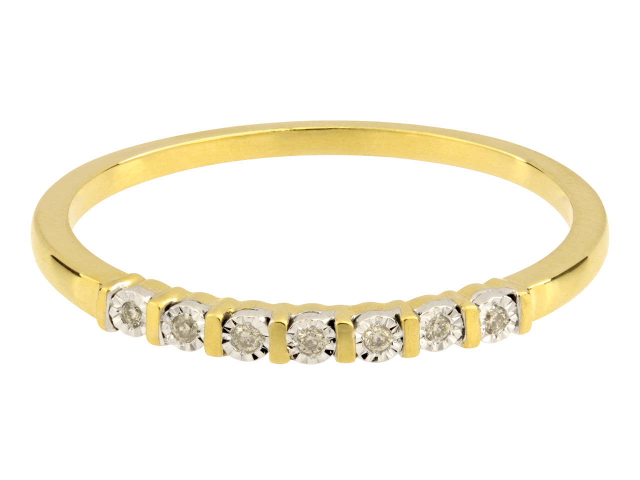 9ct Yellow Half Eternity Diamond   Ring, Hallmarked 0.03cts, Illusion Set, Finger Size P