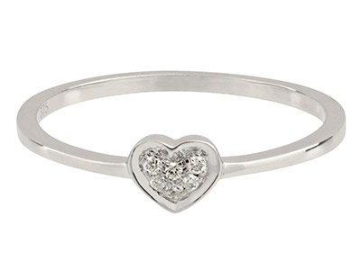 9ct-White-Heart-Ring,-0.04cts,-----Ha...