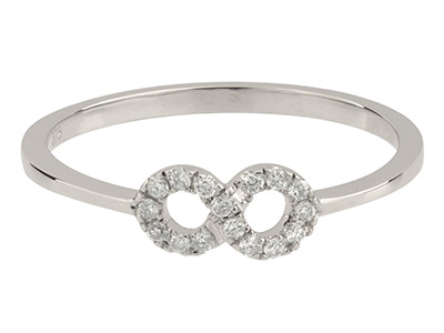 9ct White Gold Infinity Ring,      Diamond Set, Hallmarked 0.10cts,   Finger Size P