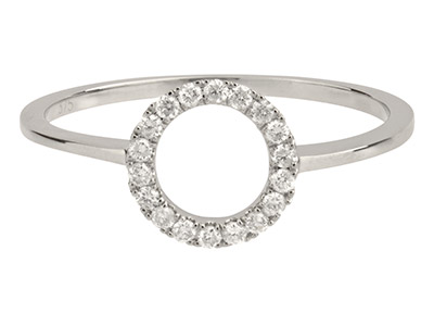 9ct White Gold Circle Outline Ring, 0.14cts, Hallmarked Diamond Set,    Finger Size P