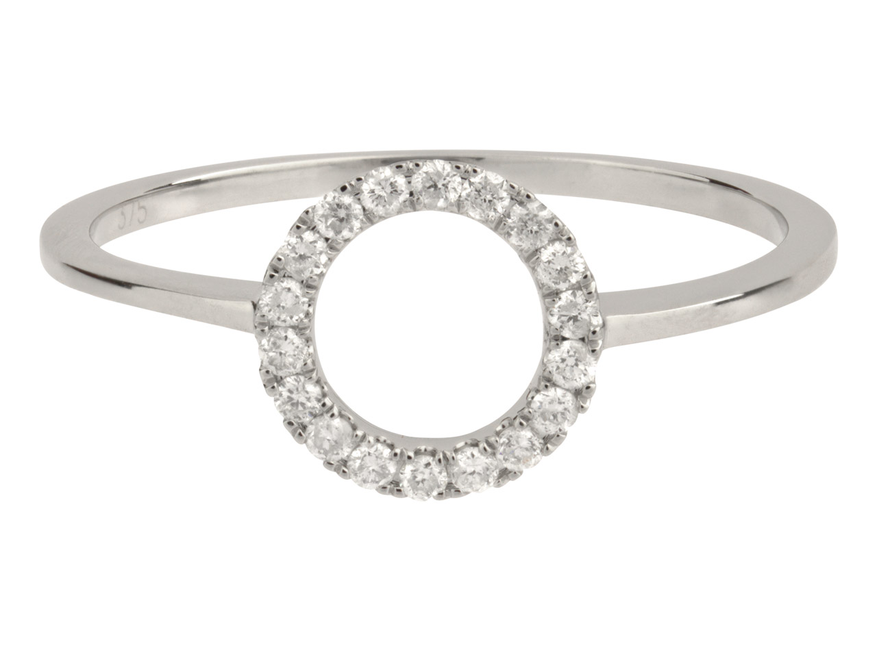 9ct White Circle Outline Ring,     0.14cts, Hallmarked Diamond Set,   Finger Size P