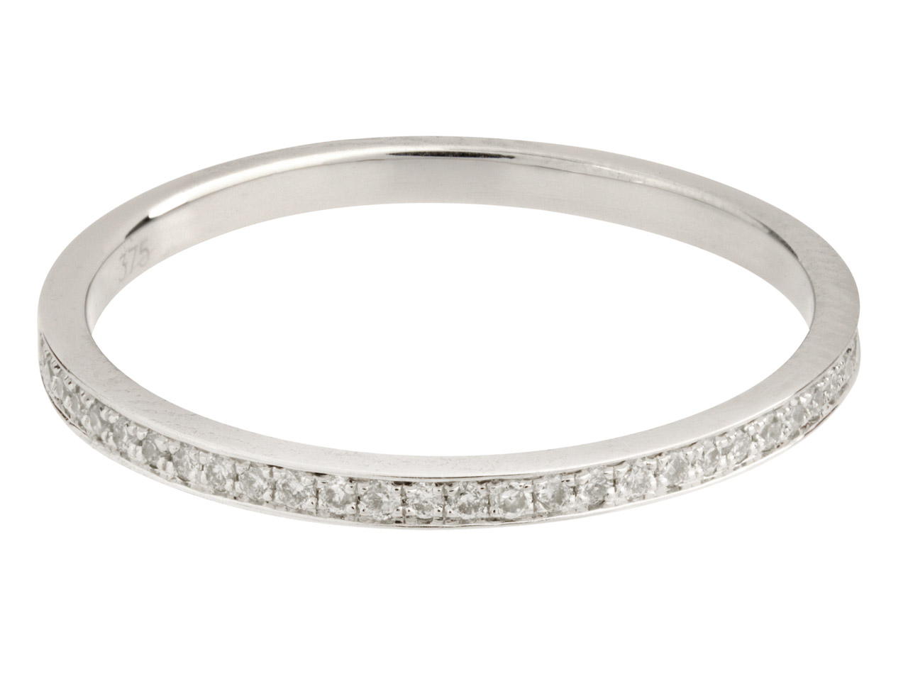 9ct White Eternity Diamond Ring,   Hallmarked 0.12cts, Grain Set,     Finger Size P
