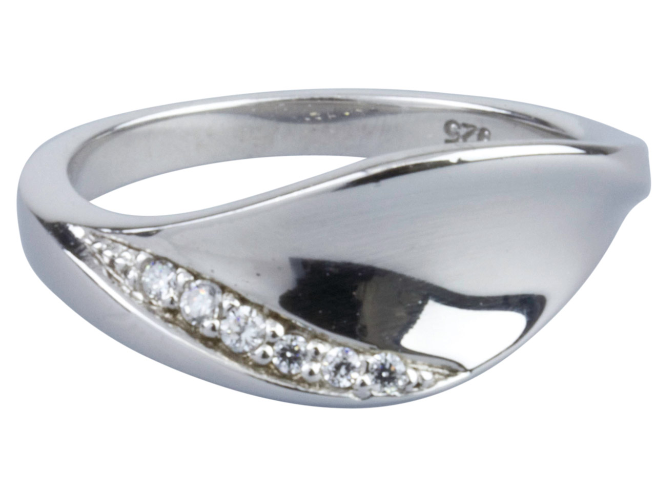 Sterling Silver Cubic Zirconia Leaf Ring, Size N 6 Graduated White Cz's