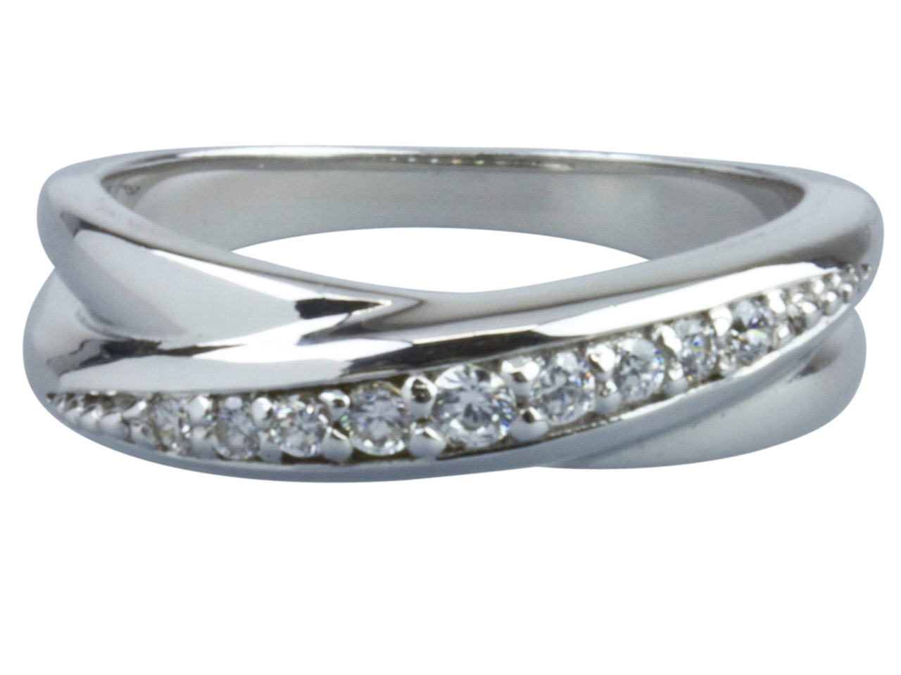 Sterling Silver Cubic Zirconia     Twisted Loop Ring, Size N 6        Graduated Cz's