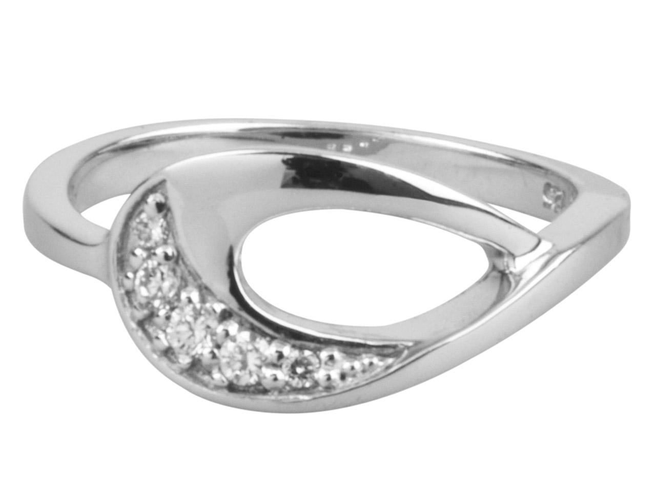 Sterling Silver Cubic Zirconia     Teardrop Ring, Size N 5 Graduated  White Cz's