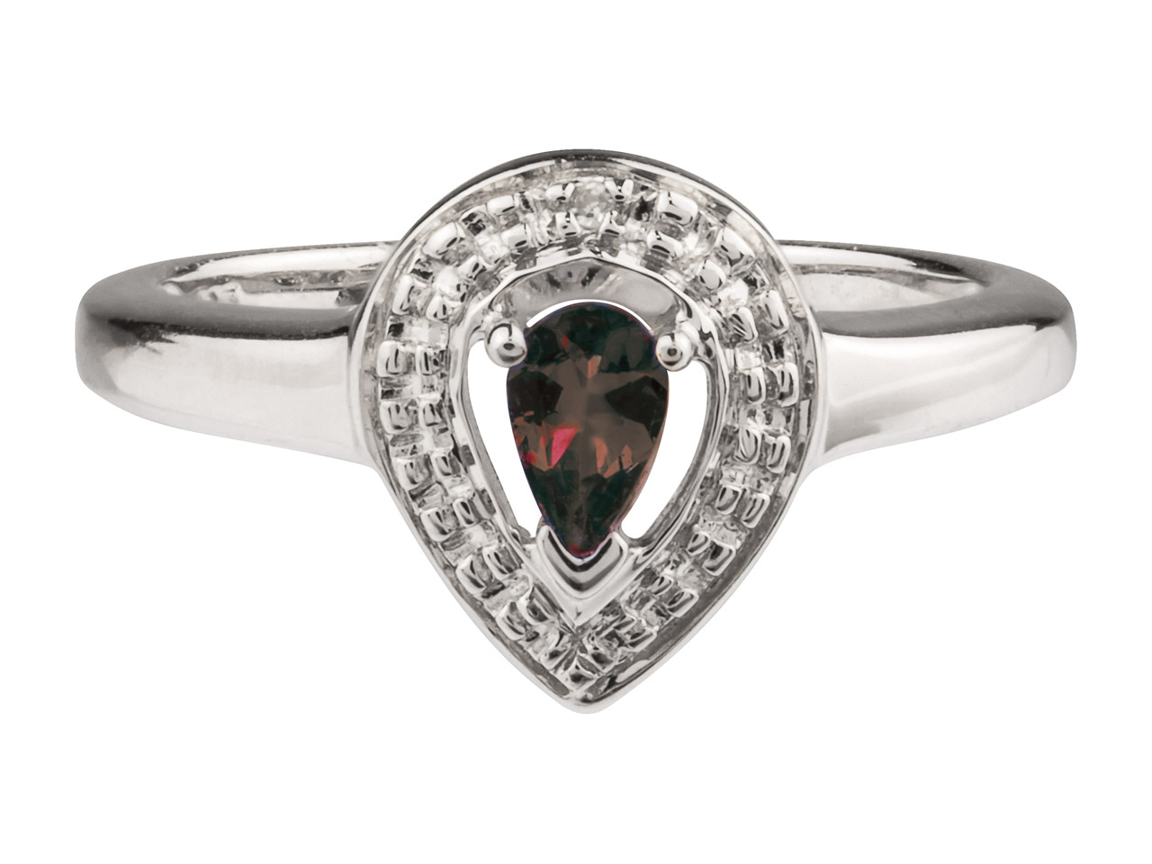 Sterling Silver Pear Shape Ring    With Ruby And Diamond, Size P