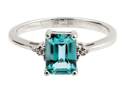 Sterling Silver Ring With Emerald  Cut Blue Topaz And Diamond, Size P