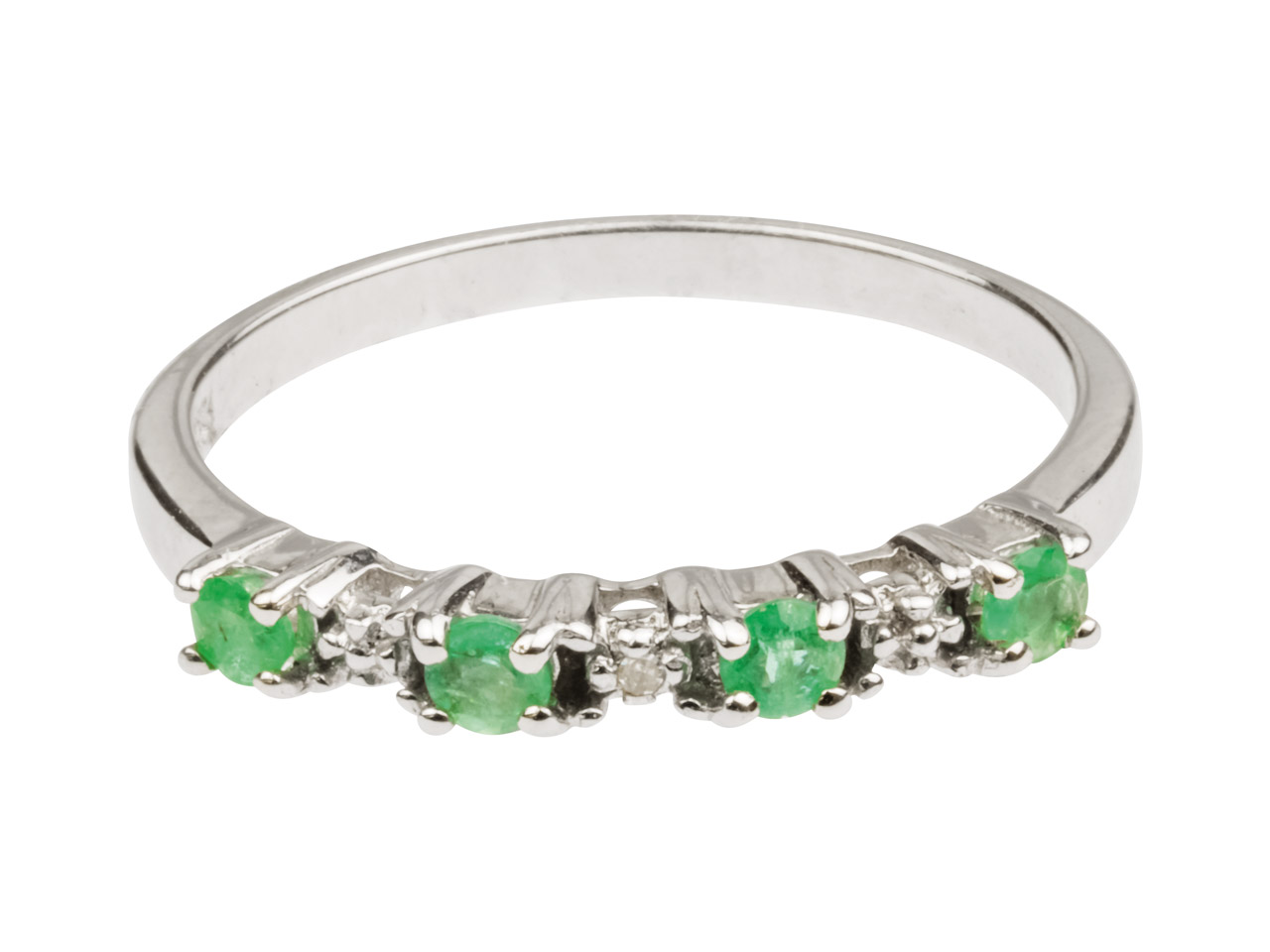 Sterling Silver Half Eternity Ring With Emerald And Diamond, Size P