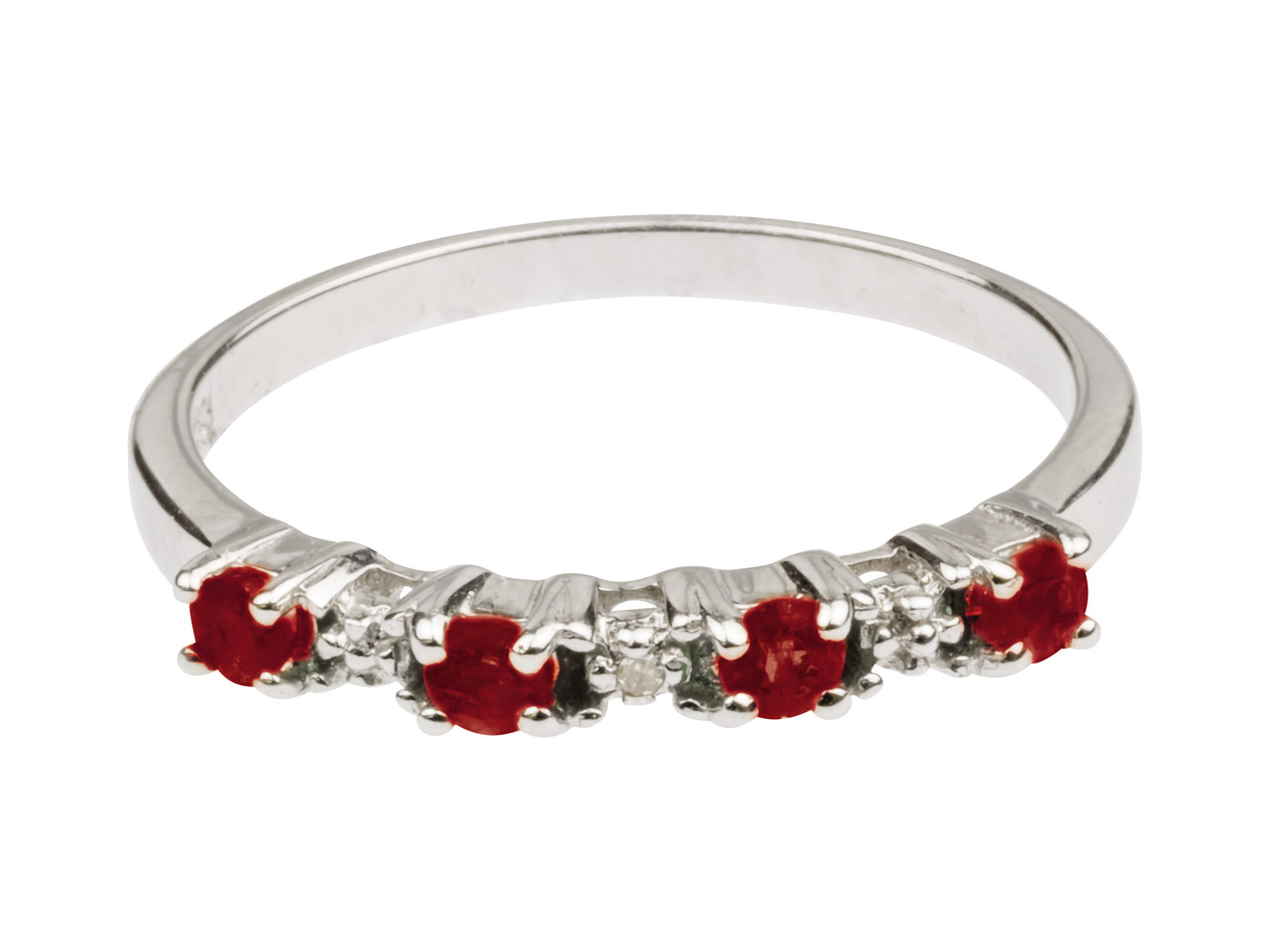 Sterling Silver Half Eternity Ring With Ruby And Diamond, Size P