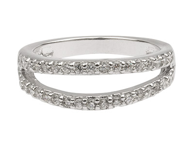 Sterling Silver Two Strand Ring Set With Cz, Size P