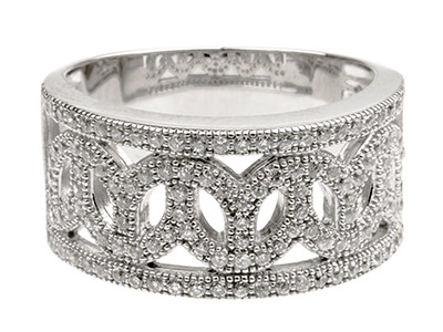 Sterling Silver Wide Filigree Ring Set With Cz, Size P