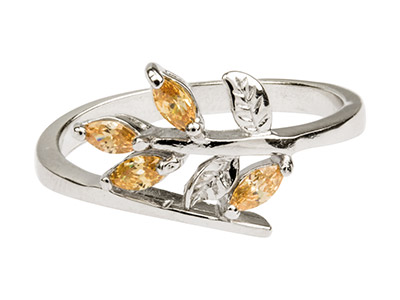 Sterling Silver Crossover Leaf Ring Set With Cz, Size P