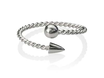 Sterling Silver Rope Design        Adjustable Ring