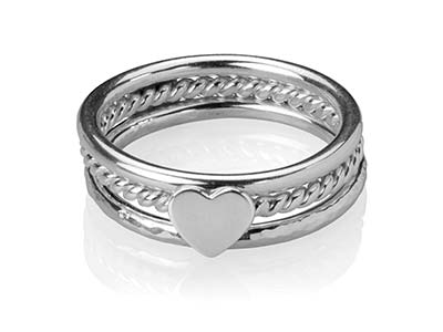 Sterling Silver Heart Design Three Stacking Rings, Size O