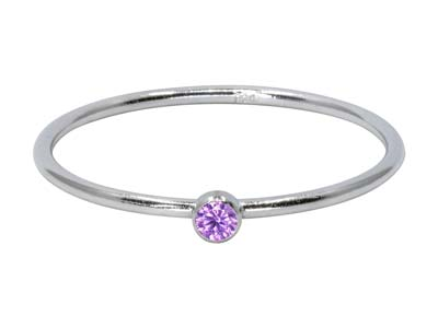 Sterling Silver June Birthstone    Stacking Ring 2mm Light Amethyst   Cubic Zirconia