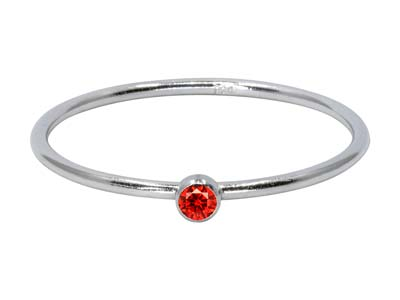 Sterling Silver July Birthstone    Stacking Ring 2mm Ruby             Cubic Zirconia