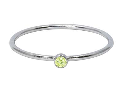 Sterling Silver August Birthstone  Stacking Ring 2mm Lime             Cubic Zirconia