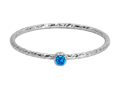 Sterling Silver Sparkle Stacking   Ring 2mm Aqua Blue Cubic Zirconia