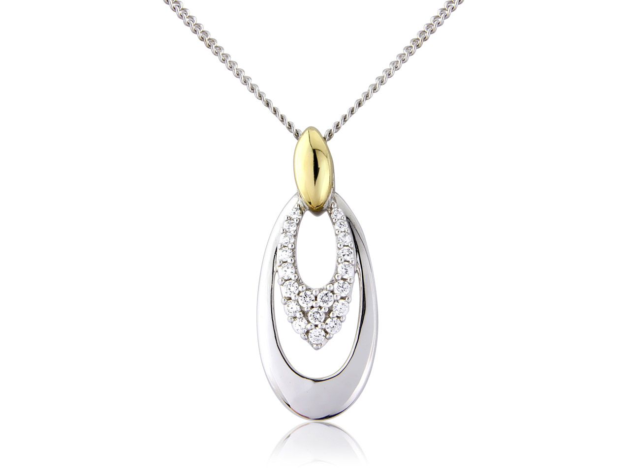 Sterling Silver 9ct Yellow Drop    Cubic Zirconia Pendant With        18