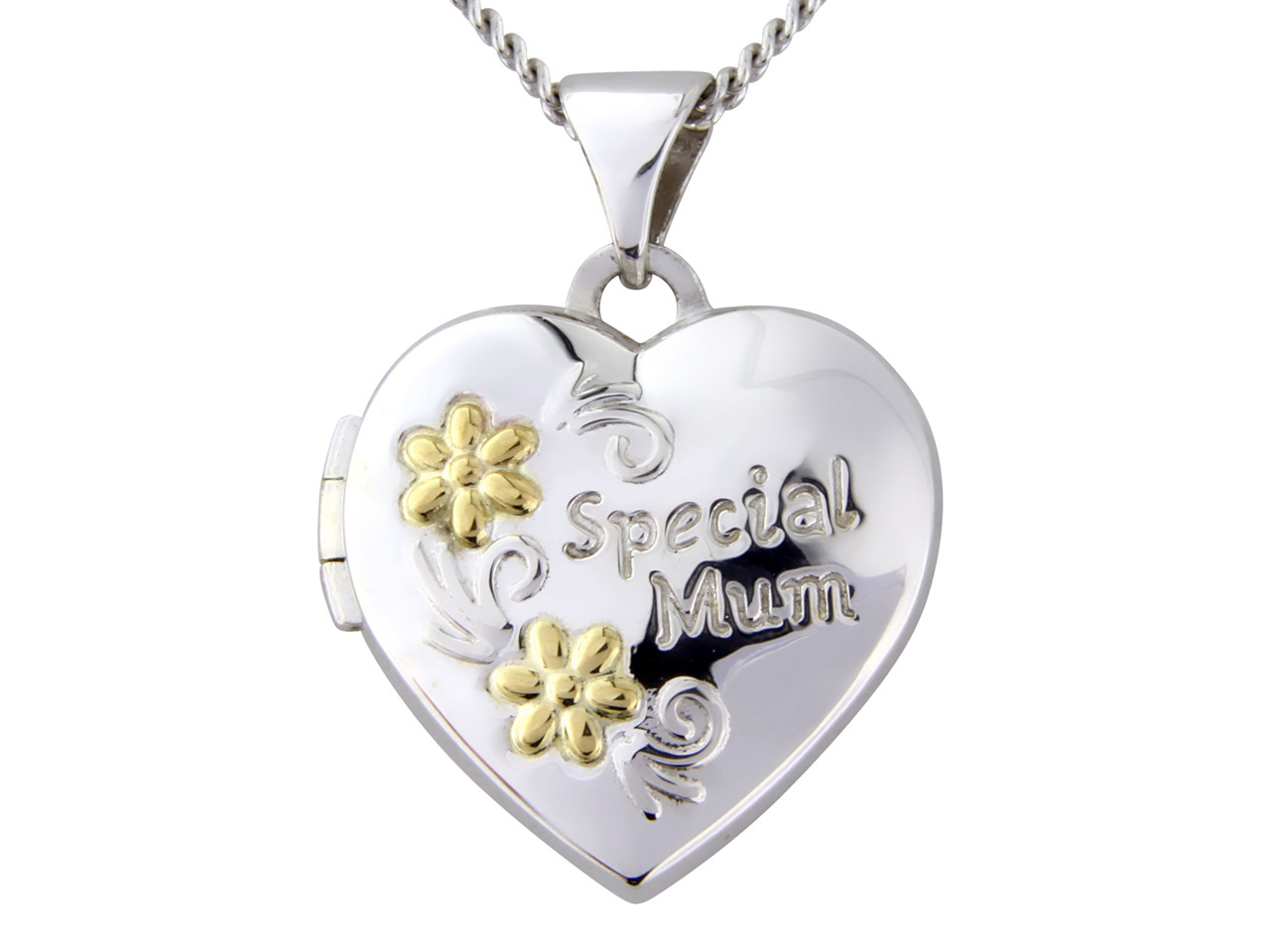 Sterling Silver 9ct Yellow Heart   Locket With 18
