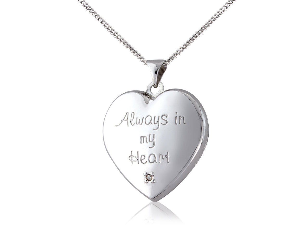 Sterling Silver 9ct Yellow Heart   Dia Locket With 18
