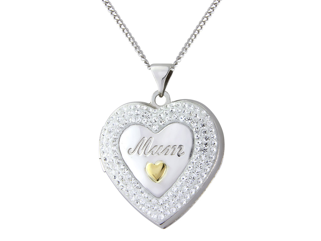 Sterling Silver 9ct Yellow Crystal Mum Locket With 18