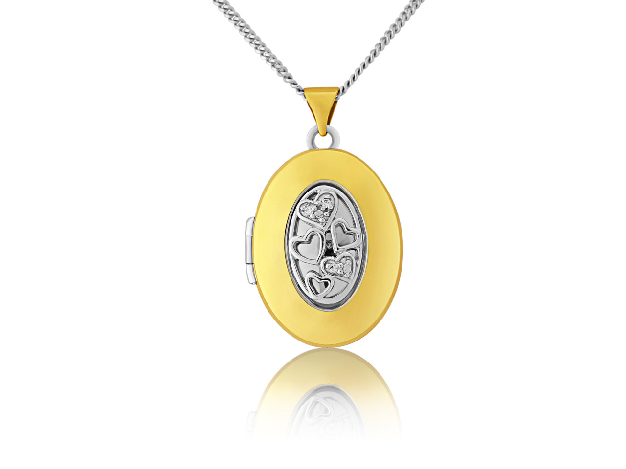 Sterling Silver 9ct Yellow Oval    Locket With 18