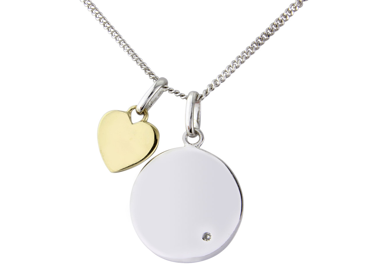 Sterling Silver 9ct Yellow Message Pendant With 18