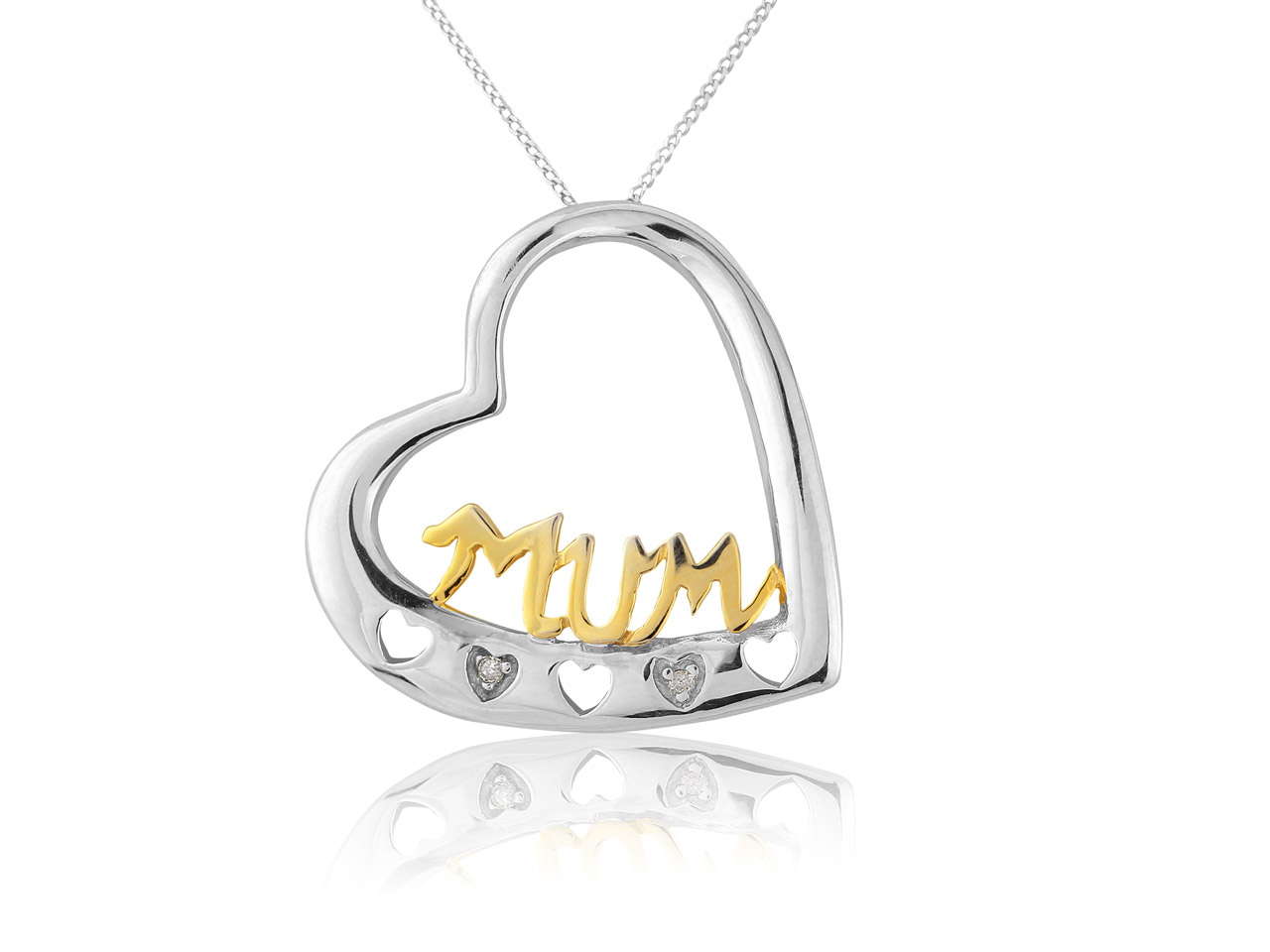 9ct White 9ct Yellow Mum Diamond   Set Mum Pendant With Chain 0.01ct