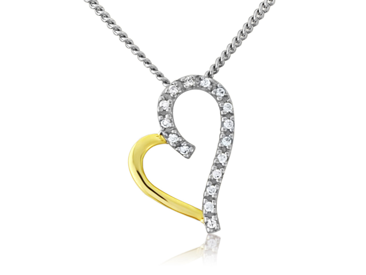 Sterling Silver 9ct Yellow         Cubic Zirconia Set Heart Pendant   And Chain