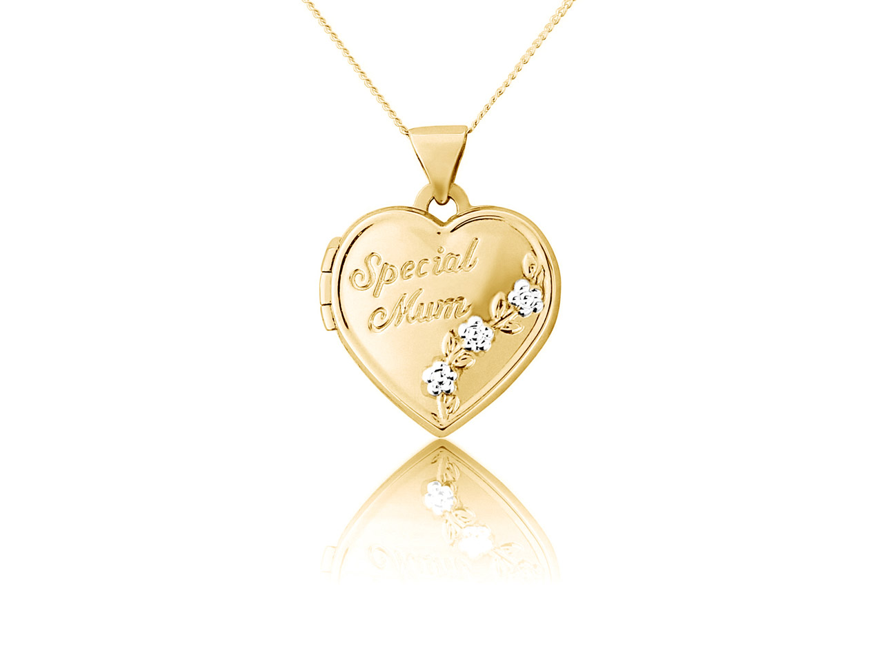 Sterling Silver 9ct Yellow Special Mum Heart Locket With Chain