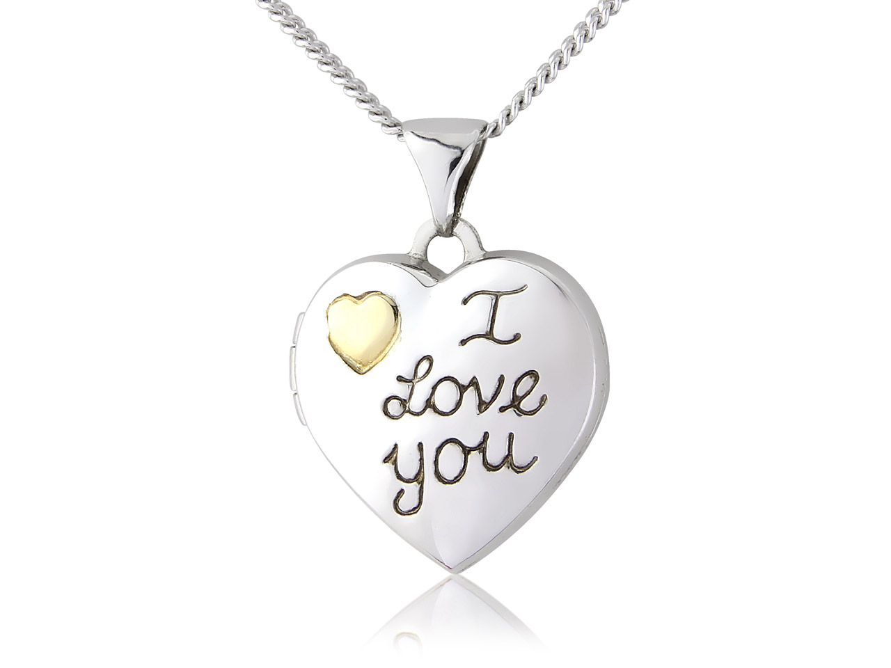 Sterling Silver 9ct Yellow I Love  You Heart Locket And Chain
