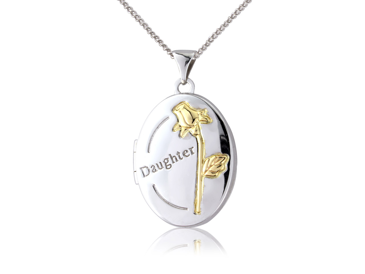 Sterling Silver 9ct Yellow Oval    Daughter Locket With Rose Detail   And 18
