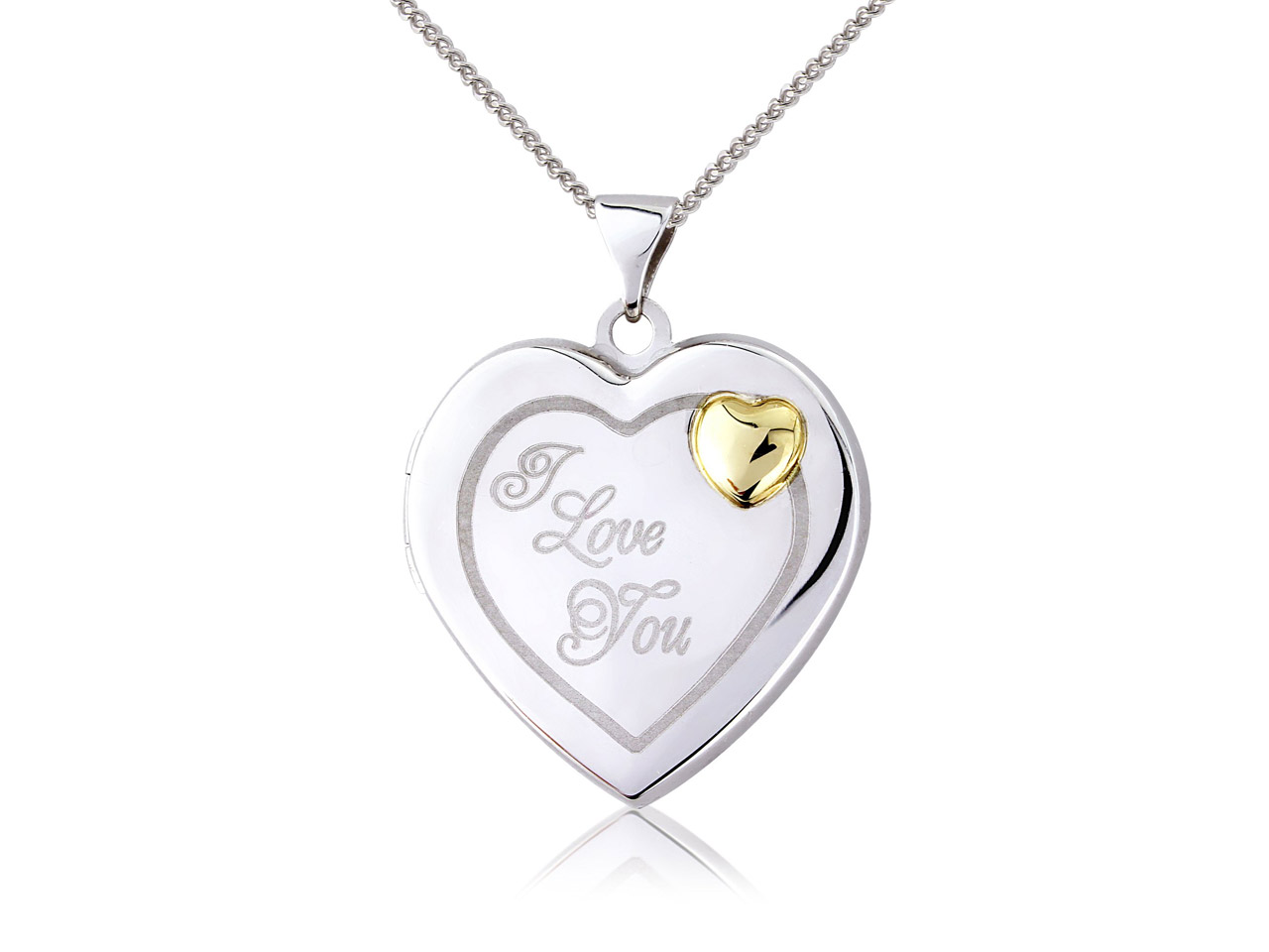 Sterling Silver 9ct Yellow Heart    Locket 'i Love You' With Mini Heart Detail And 18