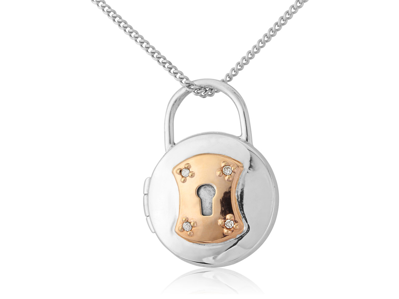 Sterling Silver 9ct Red 0.02ct     Diamond Set Padlock Style Locket   With 18