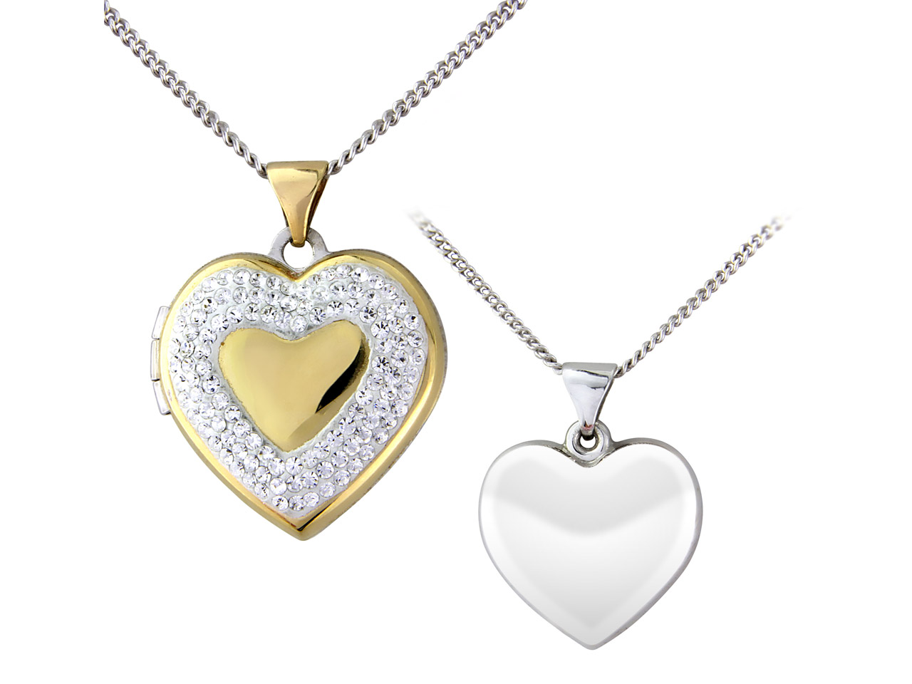 Sterling Silver 9ct Yellow Heart   Locket With Crystal Border And     18