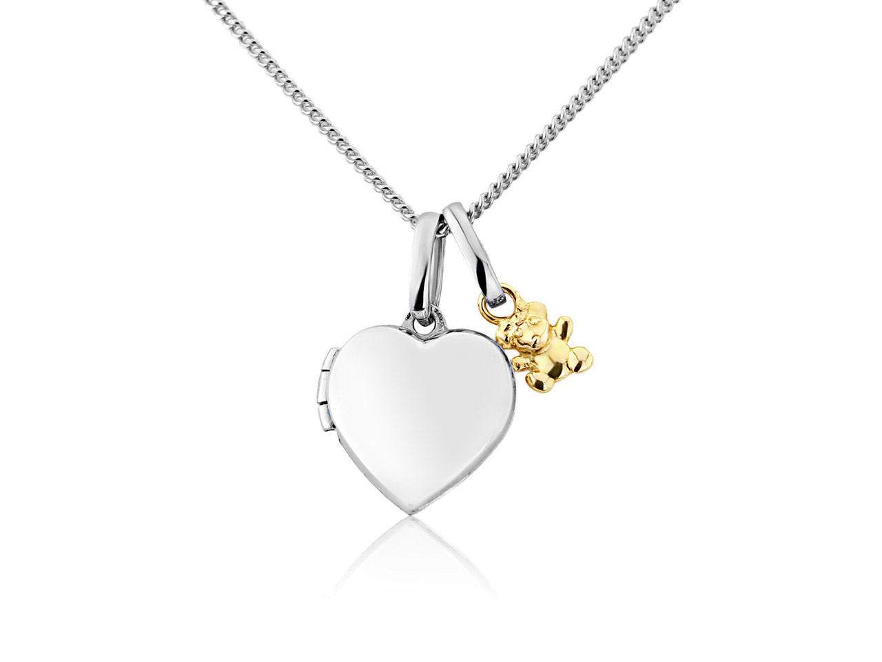 Sterling Silver 9ct Yellow Mini    Heart Locket With Teddy Charm And  16