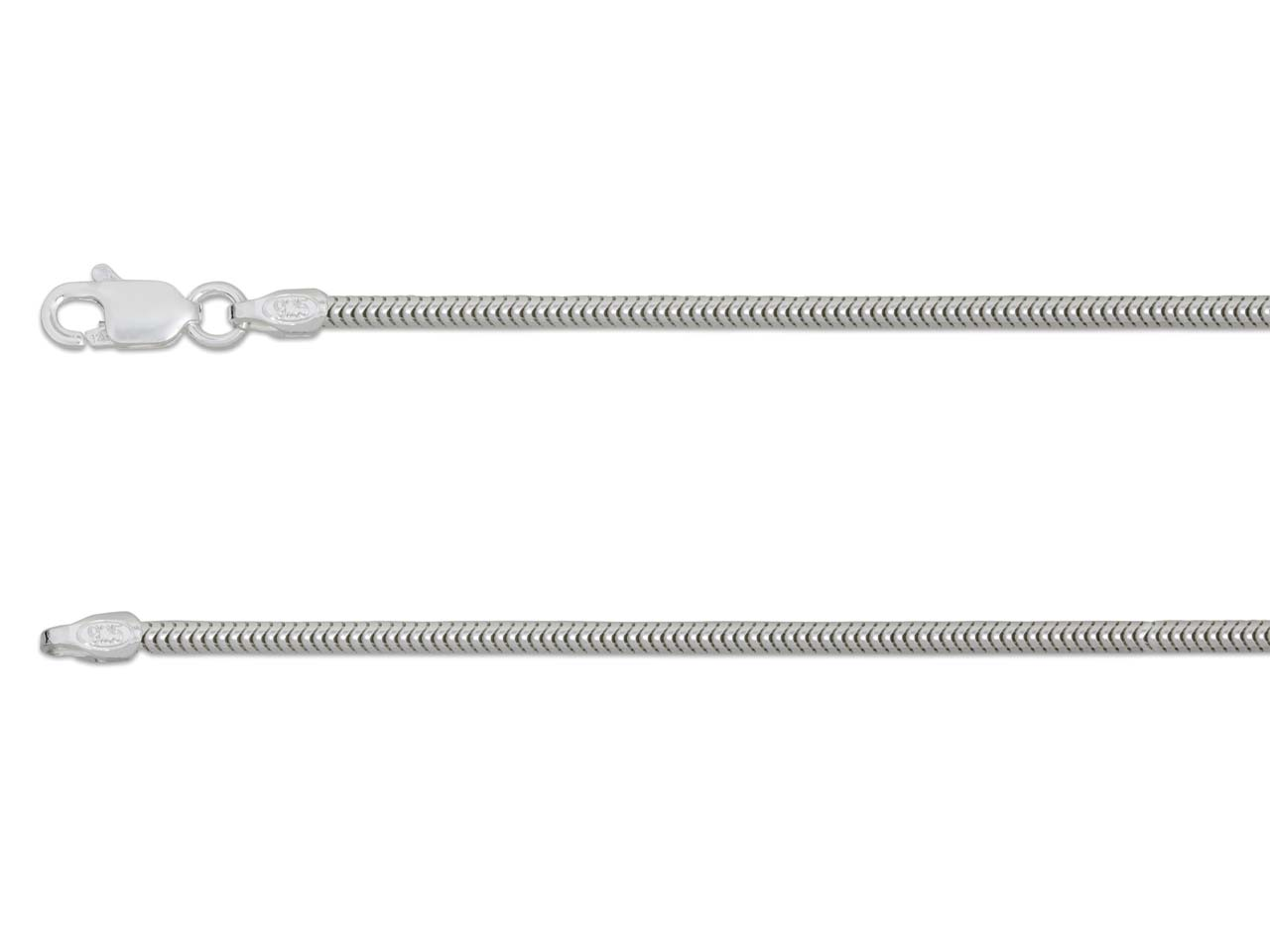 Sterling Silver 1.6mm Snake Chain  18