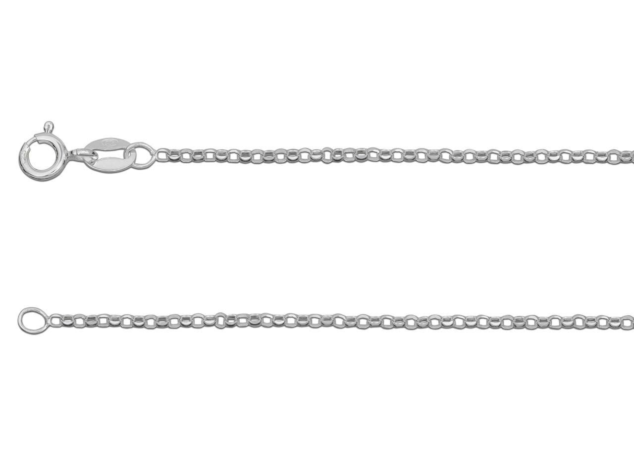 Sterling Silver 2 Diamond Cut      Belcher 18