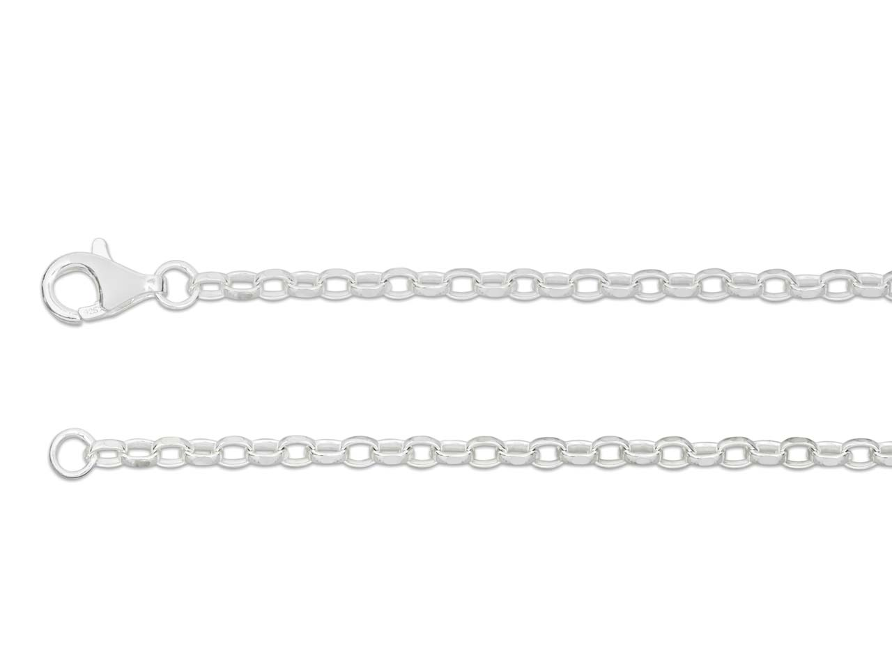Sterling Silver 3 Diamond Cut      Belcher 18