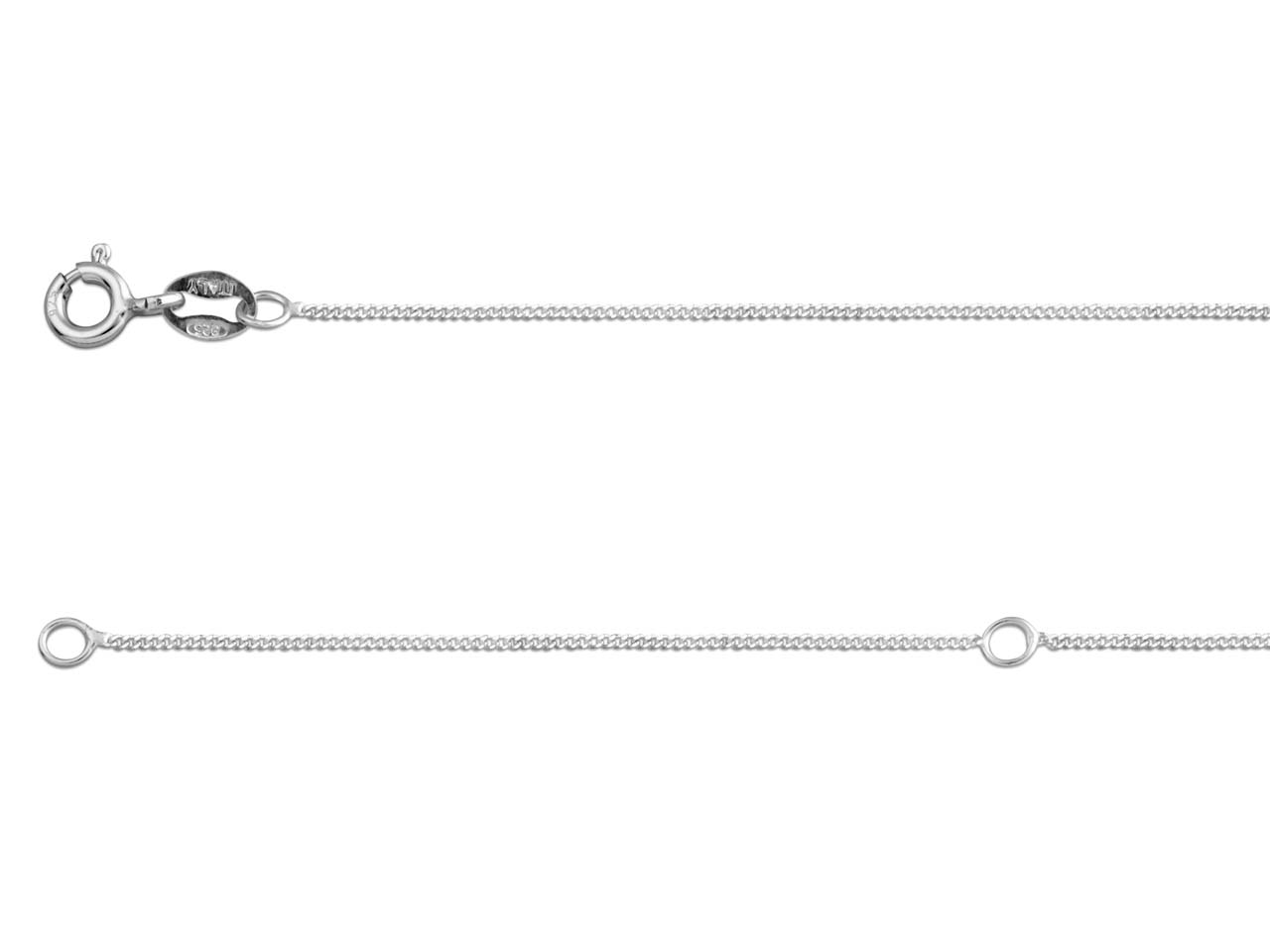 Sterling Silver 1.0mm Diamond Cut  Extendable Curb Chain              18-20