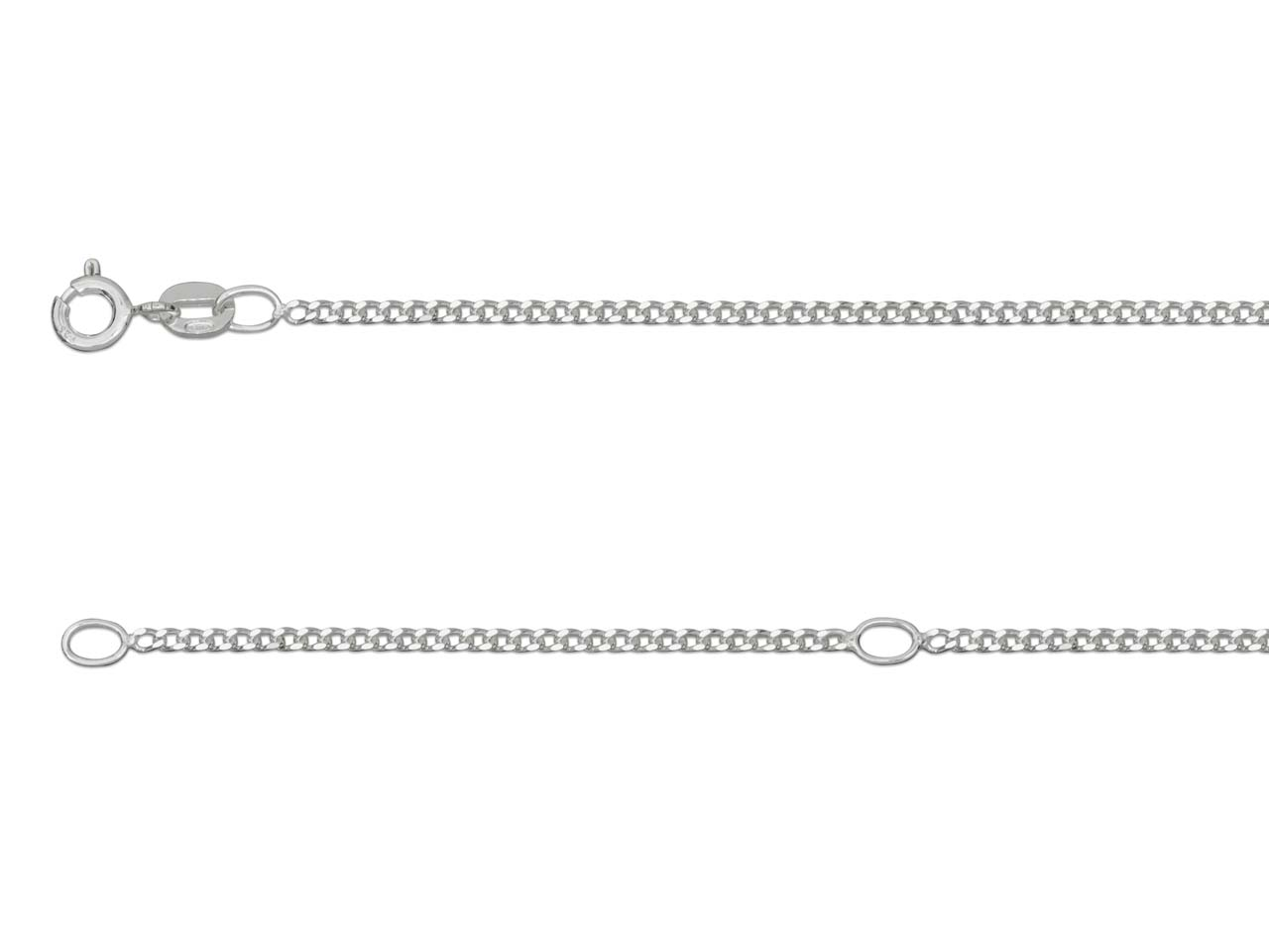 Sterling Silver 1.5mm Diamond Cut  Curb Unhallmarked Extendable,      16-18