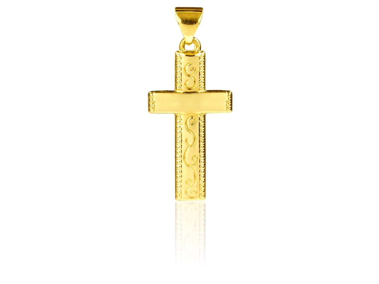 9ct Yellow Cross Pendant Embossed  With Scrolls 23mm X 11.5mm Machine Engravable